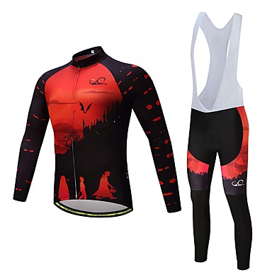 Long Sleeve Cycling Jersey with Bib Tights Bike Clothing Suit, Quick Dry Polyester, Spandex, Silicon / Lycra