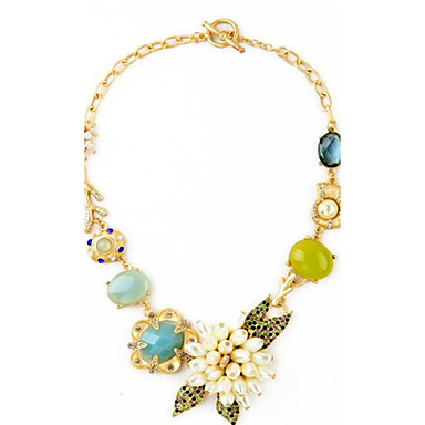 Women's Flower Floral Unique Design Flower Style Flowers Statement Necklace Synthetic Sapphire Alloy Statement Necklace , Birthday Party