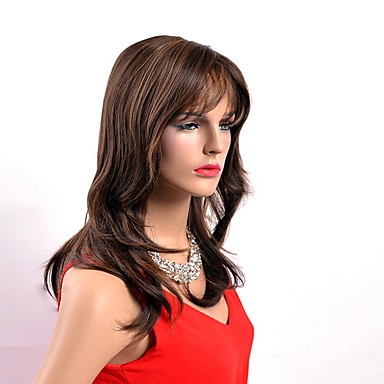 Synthetic Wig Natural Wave Synthetic Hair Brown Wig Women's Long Capless
