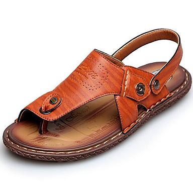 Miehet kengät Nahka Kevät Comfort Sandaalit Käyttötarkoitus Kausaliteetti Keltainen Ruskea
