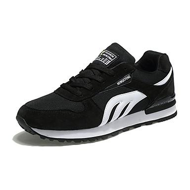 Herre sko Tyll Vår Høst Mary Jane Komfort Sportssko Løp Snøring til Atletisk Avslappet utendørs Svart Mørkeblå Blå