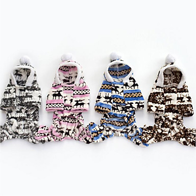 Dog Hoodie Jumpsuit Christmas Dog Clothes Christmas Gray Brown Blue Pink Cotton Down Costume For Pets Men's Women's Casual / Daily