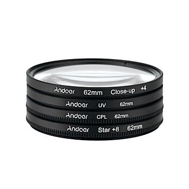 Andoer 62mm UV CPL Close-Up4 Star 8-Point Filter Circular Filter Kit Circular Polarizer Filter Macro Close-Up Star 8-Point Filter with Bag for Nikon