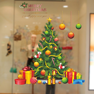 Trees/Leaves Christmas Window Sticker, PVC/Vinyl Material Window Decoration Living Room