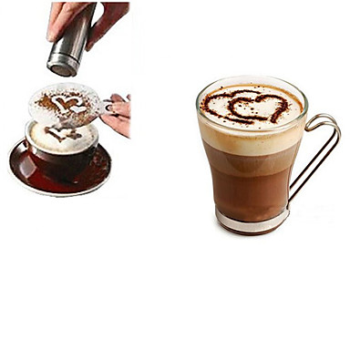 1db Rozsdamentes acél kávé Stencil Útmutató ,