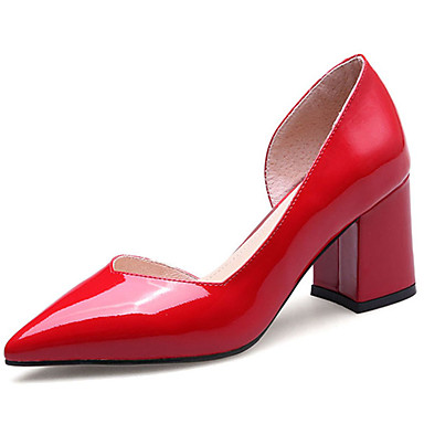 Women's Heels Light Soles Summer Patent Leather Walking Shoes Casual Chunky Heel White Black Ruby 3in-3 3/4in