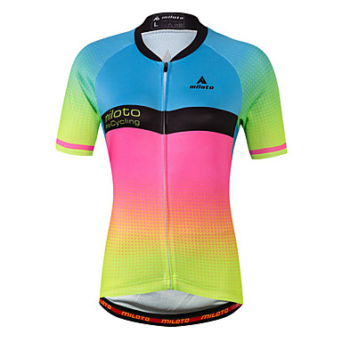 Miloto Women's Short Sleeve Cycling Jersey - Luminous Gradient Plus Size Bike Jersey Top Spandex Coolmax® / Stretchy