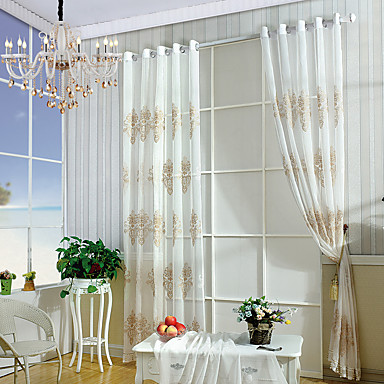 Sheer Curtains Shades Living Room Embroidered Embroidery