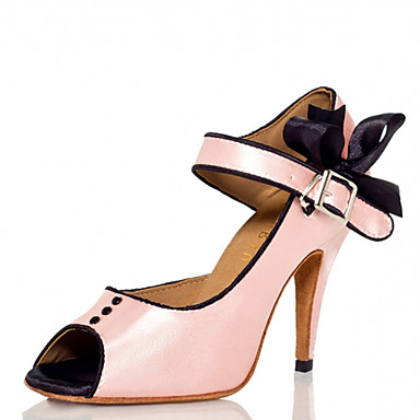 Women's Latin Shoes Silk Sandal Buckle Stiletto Heel Customizable Dance Shoes Pink / Performance / Leather
