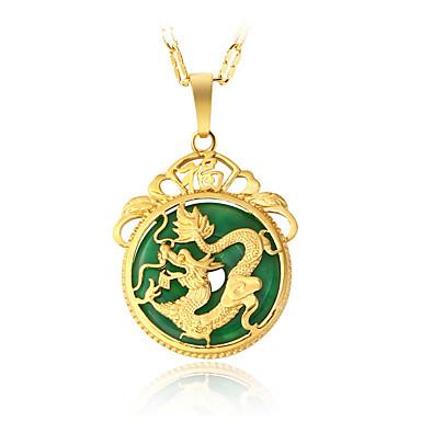 Verde Jade Colares com Pendentes - Chapeado Dourado Dragão Luxo, Pingente, Vintage Dourado Colar Jóias Para Presentes de Natal, Festa, Ocasião Especial