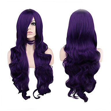 Synthetic Wig Curly Purple Women's Capless Cosplay Wig Long Synthetic Hair