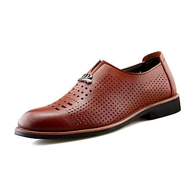 Homens sapatos Couro Primavera Outono Conforto Mocassins e Slip-Ons Vazados para Casual Preto Marron