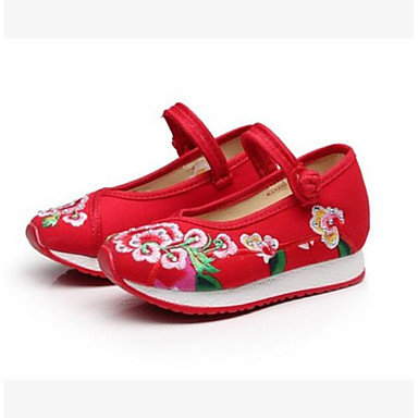 Women's Kids' Dance Shoes Fabric Flat Practice Black Red Blue