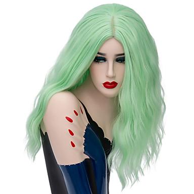 Cabelo Sintético perucas Onda Profunda Peruca Natural Médio Marrom Cinza Roxo Verde