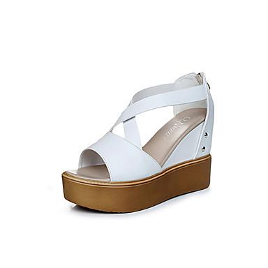 Dame Sko PU Sommer Lette såler Sandaler Plattform / Kile Hæl / Creepers Titte Tå Nagle / Spenne / Glidelås Hvit