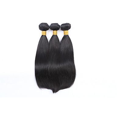Brazilian Hair Straight Human Hair Weaves 3 Pieces Natural Color Hair Weaves