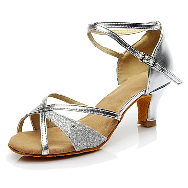 Women's Latin Shoes Paillette Heel / Sneaker Paillette Cuban Heel Customizable Dance Shoes Gold / Silver / Performance