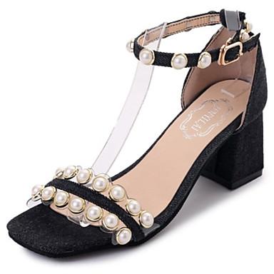 Mulheres Sapatos Borracha Verão Gladiador Sandálias Caminhada Salto de bloco Pedrarias Presilha para Ao ar livre Preto Azul