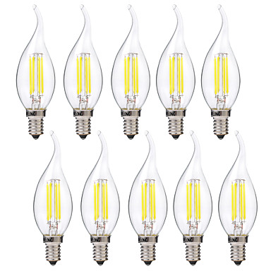 BRELONG® 10pcs 4 W 400 lm E14 LED Filament Bulbs C35 4 LED Beads COB Warm White / White 220-240 V / 10 pcs
