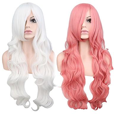 Szintetikus parókák Hullámos Pink Szintetikus haj Fehér / Pink Paróka Női Hosszú Sapka nélküli Rózsaszín