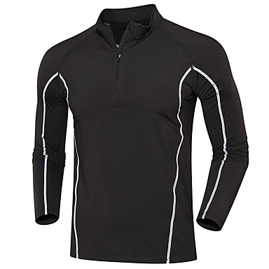 Men's Running T-Shirt Long Sleeves Moisture Wicking Quick Dry Sweatshirt Top for Running/Jogging Exercise & Fitness Loose Black