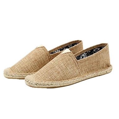 Homens sapatos Linho Algodão Verão Outono Solados com Luzes Alpargata Mocassim Mocassins e Slip-Ons Elástico para Casual Escritório e