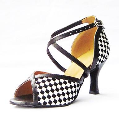 Mulheres Sapatos de Dança Latina Couro Sintético Sandália Cruzado Salto Agulha Personalizável Sapatos de Dança Preto / Espetáculo
