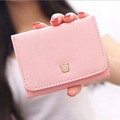Women's Bags PU Checkbook Wallet for Casual All Seasons Fuchsia Red Pink