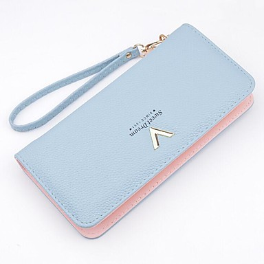 Women's Bags PU Polyester Checkbook Wallet for Event/Party Shopping Casual All Seasons Black Aquamarine Silver Gray Pink