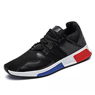 Miesten kengät PU Tyll Kevät Syksy Comfort Urheilukengät Jouksu Solmittavat varten Urheilullinen Kausaliteetti Kulta Valkoinen Musta