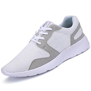 Homens sapatos Couro Ecológico Primavera Outono Solados com Luzes Conforto Tênis Corrida Cadarço para Atlético Branco Preto Cinzento