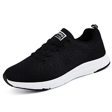 Homens sapatos Tule Primavera Outono Conforto Tênis Caminhada Cadarço para Casual Preto
