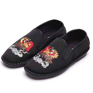 Homens sapatos Tecido Primavera Outono Conforto Mocassins e Slip-Ons Caminhada para Casual Escritório e Carreira Ao ar livre Preto