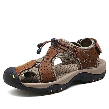 Homens sapatos Couro Ecológico Verão Conforto Sandálias Vazados para Casual Marron Azul Khaki