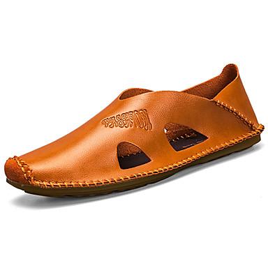 Miesten kengät Kumi Kevät Syksy Mokkasiinit Sandaalit varten ulko- Valkoinen Musta Ruskea