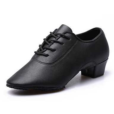 Women's Latin Shoes PU(Polyurethane) Heel Chunky Heel Customizable Dance Shoes Black / Practice