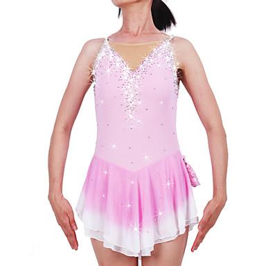 Figure Skating Dress Women's / Girls' Ice Skating Dress Pale Pink Spandex Rhinestone High Elasticity Performance Skating Wear Handmade