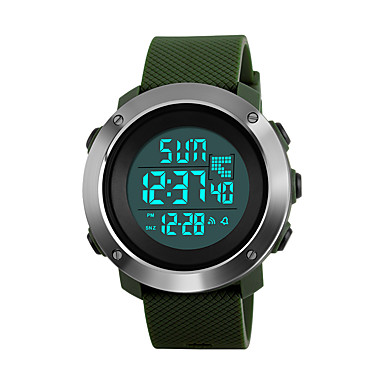 cheap Women's Watches-SKMEI Women's Sport Watch Military Watch Wrist Watch Japanese Digital Quilted PU Leather Black / Green / Grey 50 m Water Resistant / Waterproof Alarm Calendar / date / day Digital Fashion - Black