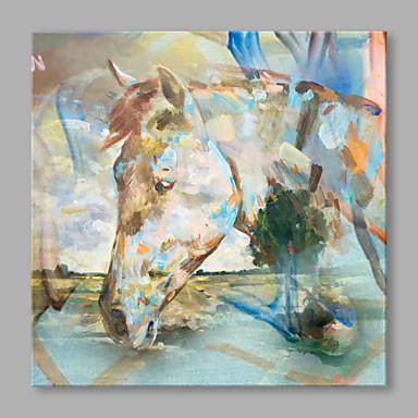 Pintura a Óleo Pintados à mão - Animais Contemprâneo Tela de pintura