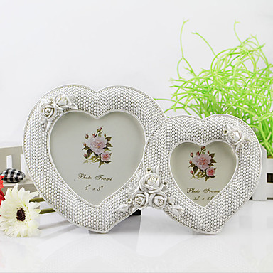 2 PC Picture Frames Casual Retro Novelty Resin White Love Wedding Photo