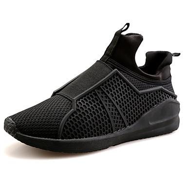 Homens sapatos Couro Ecológico Primavera Outono Solados com Luzes Conforto Mocassins e Slip-Ons Corrida para Atlético Branco Preto