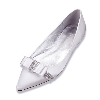Women's Shoes Satin Spring / Summer Comfort Wedding Shoes Flat Heel Pointed Toe Rhinestone / Bowknot Blue / Champagne / Ivory