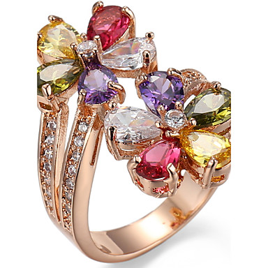 Women's Cubic Zirconia Ring Settings / Band Ring / Ring - Zircon Friends, Flower Personalized, Luxury, Unique Design 6 / 7 / 8 Assorted Color For Christmas / Christmas Gifts / Wedding / Party