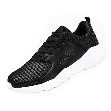 Homens sapatos Couro Ecológico Primavera Outono Conforto Tênis Caminhada Cadarço para Casual Branco Preto Branco/Preto