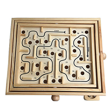 Wooden Labyrinth Maze Toy Flat Shape Wood Kid's Gift 1pcs