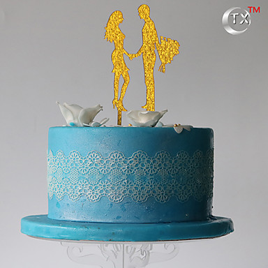 Cake Topper Classic Couple Plastic with 1 PVC Bag