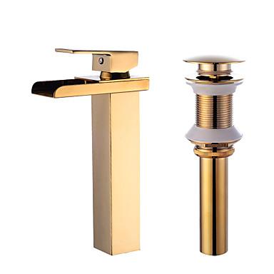 Conjunto Central Cascata Válvula Cerâmica Uma Abertura Dourado, Faucet Set