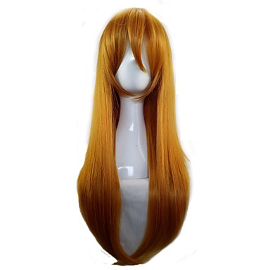women orange 70cm long straight synthetic hair lolita cosplay party wig Halloween