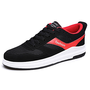 Homens sapatos Couro Ecológico Primavera Outono Solados com Luzes Conforto Tênis para Casual Branco/Preto Preto/Vermelho Black / azul