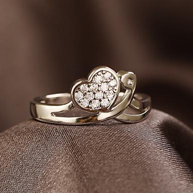 Mulheres Anel de noivado Anel Prata Cobre Coração LOVE Vintage Rhinestone Fitas Coração Fashion Casamento Festa Noivado Presente Casual